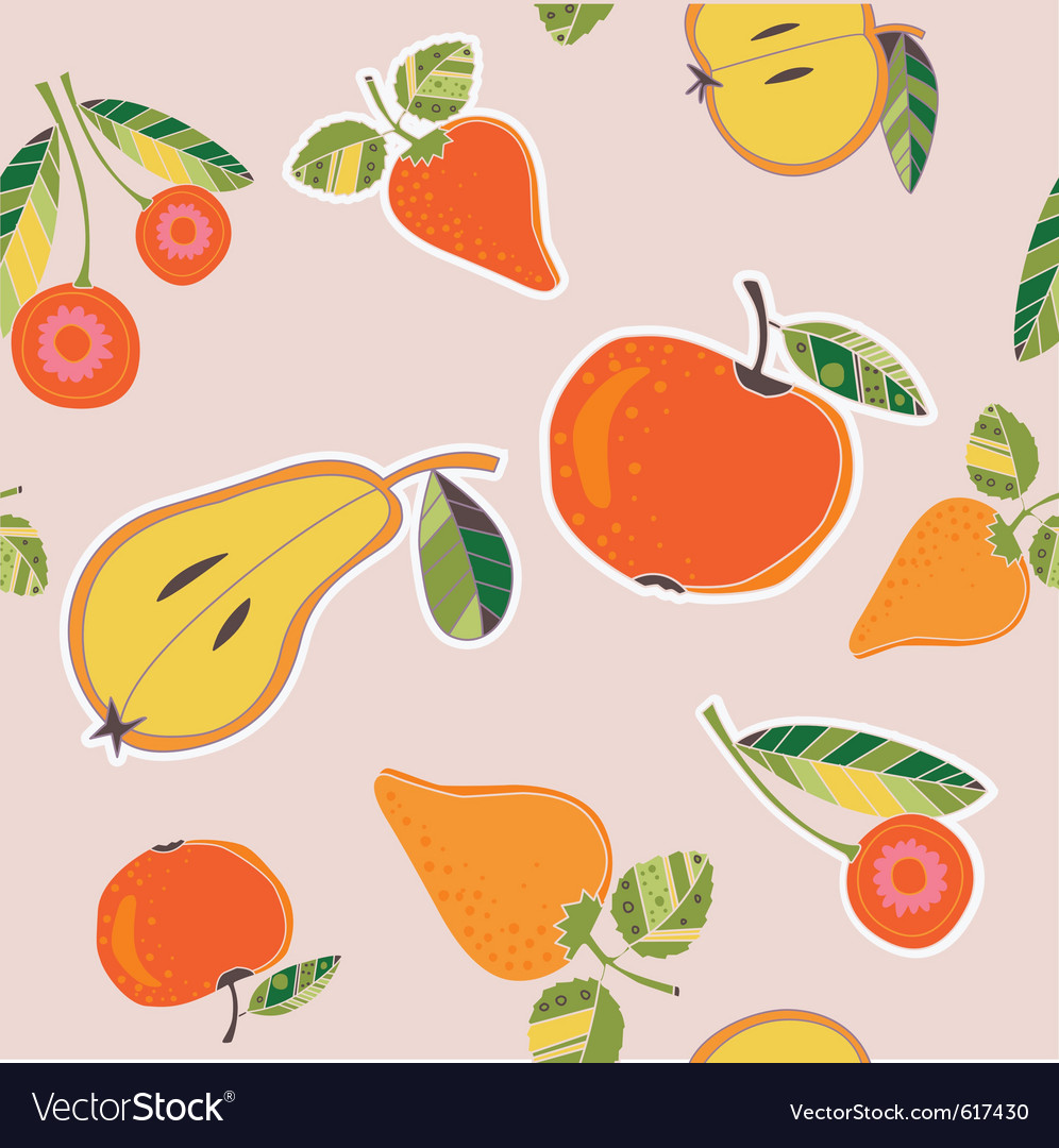 Fruits and berries pattern vector | Price: 1 Credit (USD $1)