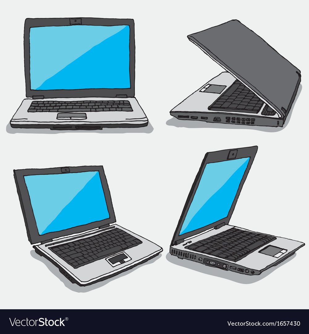 Hand drawn four laptops vector | Price: 1 Credit (USD $1)