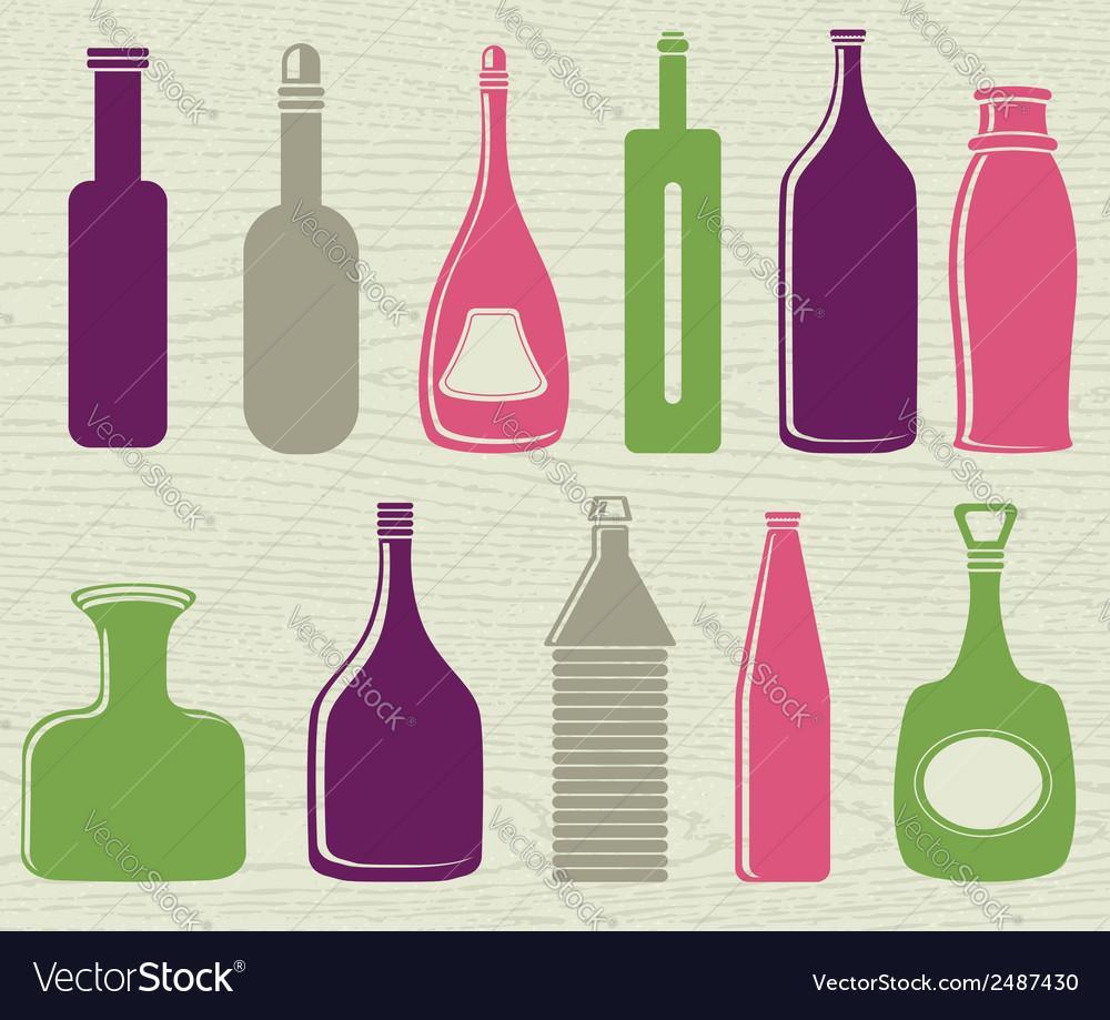 Set of color bottle vector | Price: 1 Credit (USD $1)