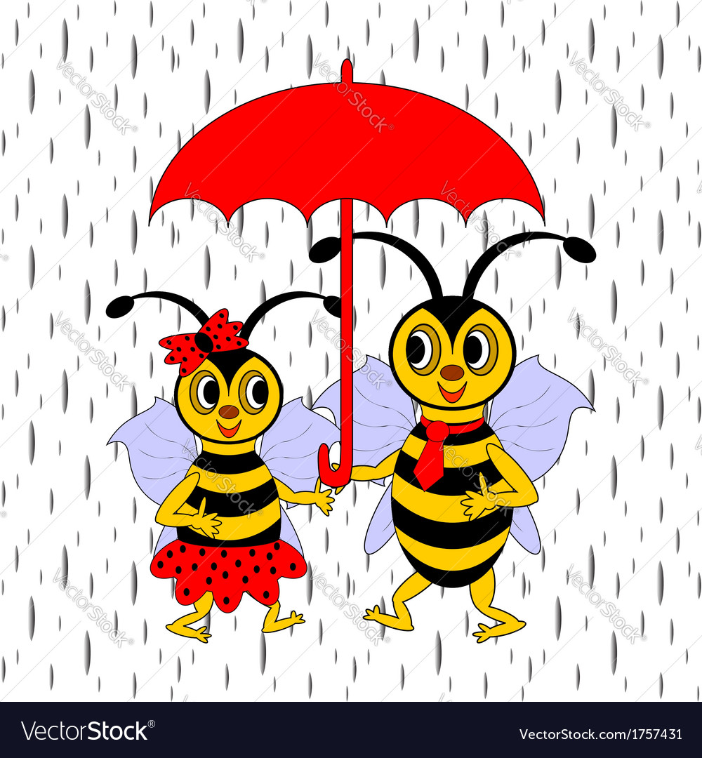 A couple of funny cartoon bees under red umbrella vector | Price: 1 Credit (USD $1)