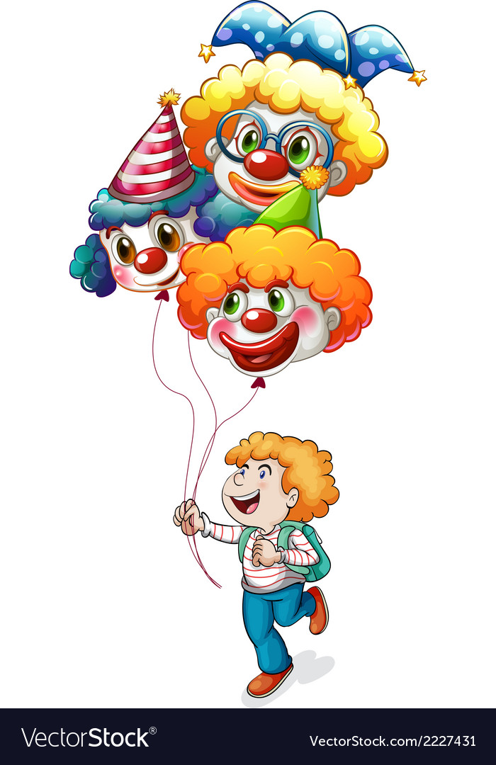 A happy young man holding clown balloons vector | Price: 1 Credit (USD $1)