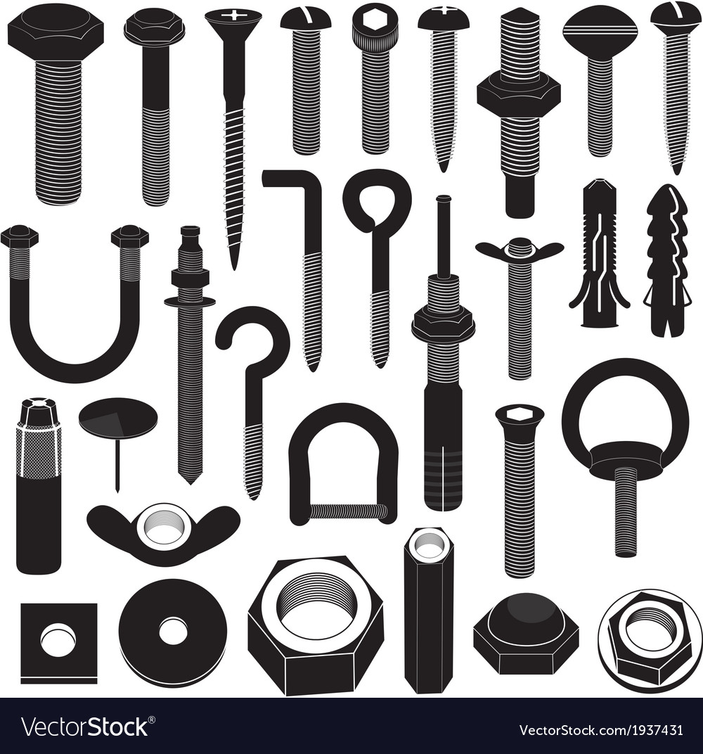 Basic screws and nuts collection vector | Price: 1 Credit (USD $1)