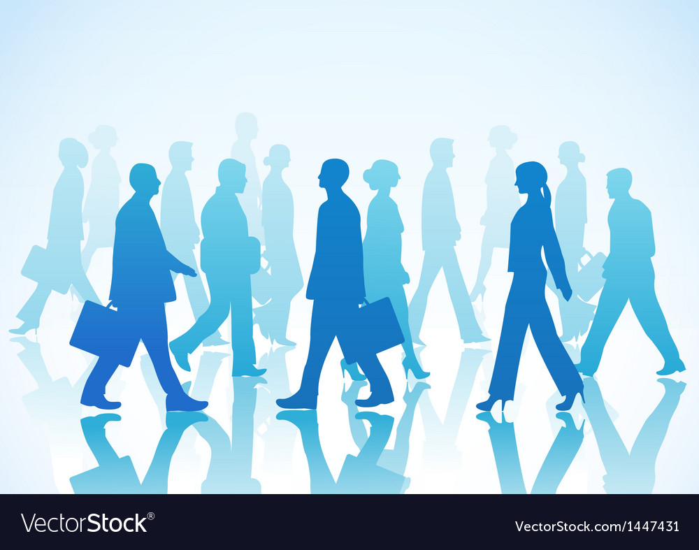 Business people in silhouette walking in different vector | Price: 1 Credit (USD $1)