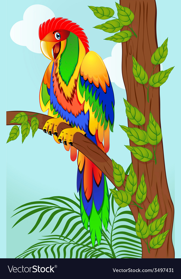 Colorful parrot on tree vector | Price: 1 Credit (USD $1)