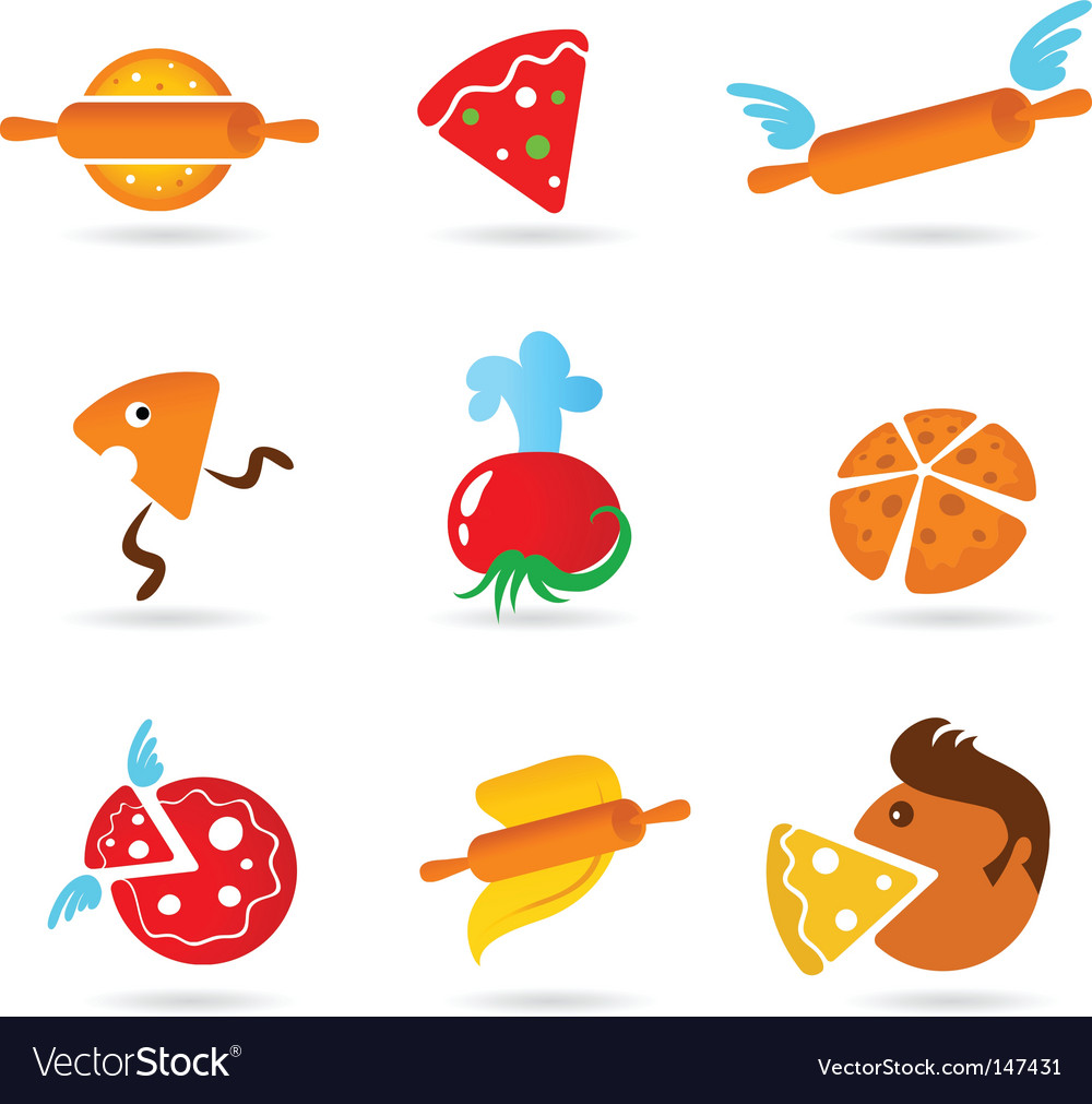 Food and kitchen icons pizza set vector   Price: 1 Credit (USD $1)
