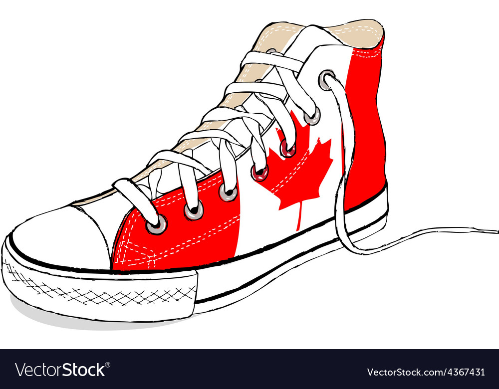 Hand draw modern sport shoes with canada flag vector | Price: 1 Credit (USD $1)