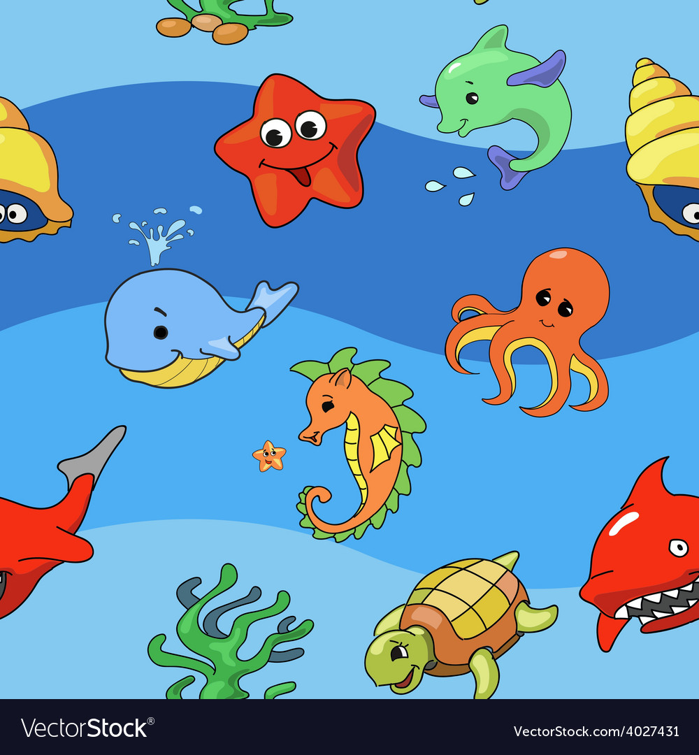 Sea seamless pattern with sea live vector | Price: 1 Credit (USD $1)