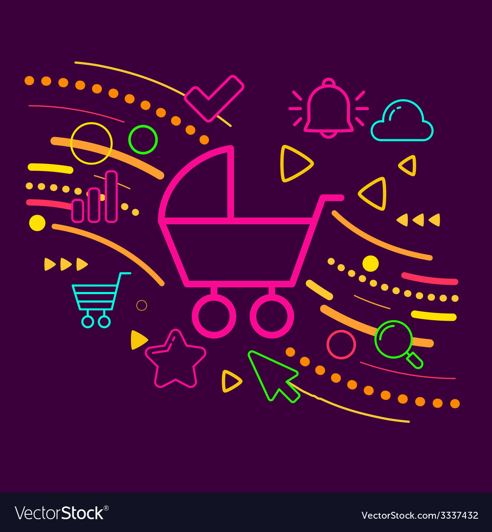 Baby carriage on abstract colorful geometric dark vector | Price: 3 Credit (USD $3)