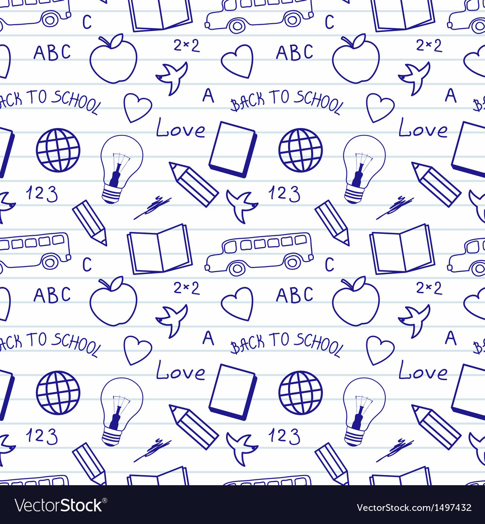 Back to school doodles pattern vector   Price: 1 Credit (USD $1)