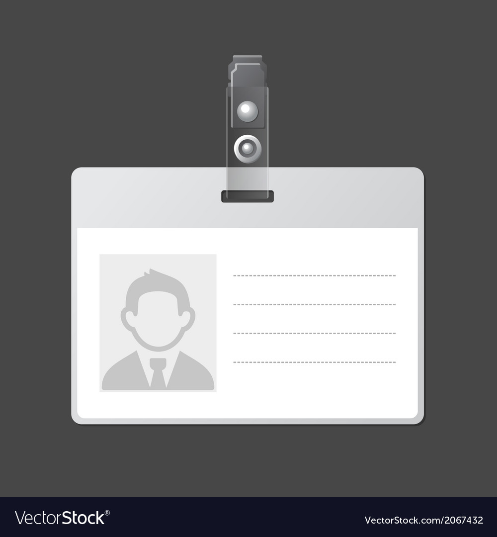 Blank identification card badge id template vector | Price: 1 Credit (USD $1)