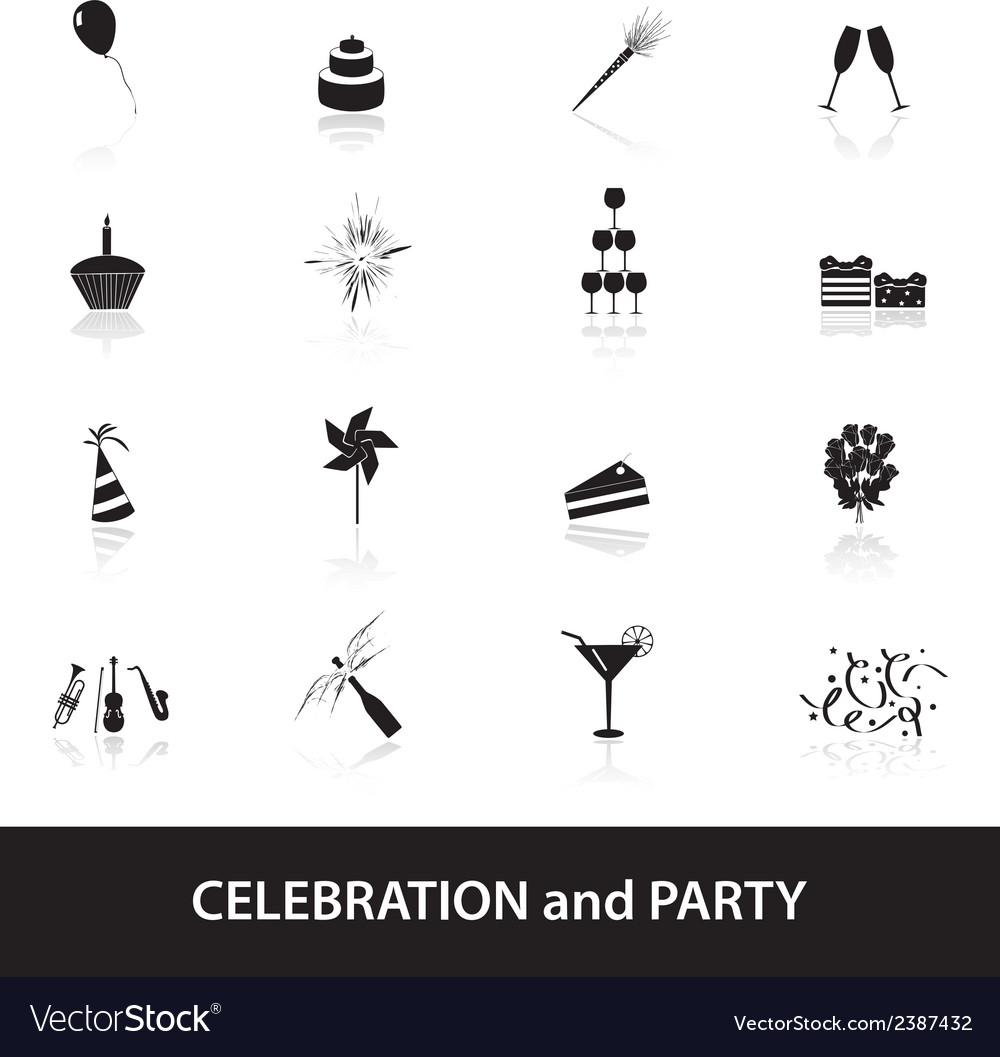 Celebration and party icons set eps10 vector | Price: 1 Credit (USD $1)