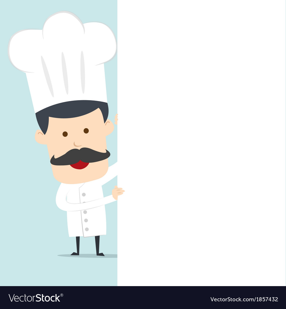 Chef hold blank board for use in advertising vector | Price: 1 Credit (USD $1)