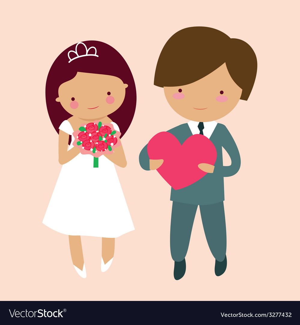 Cute groom and bride characters vector | Price: 1 Credit (USD $1)