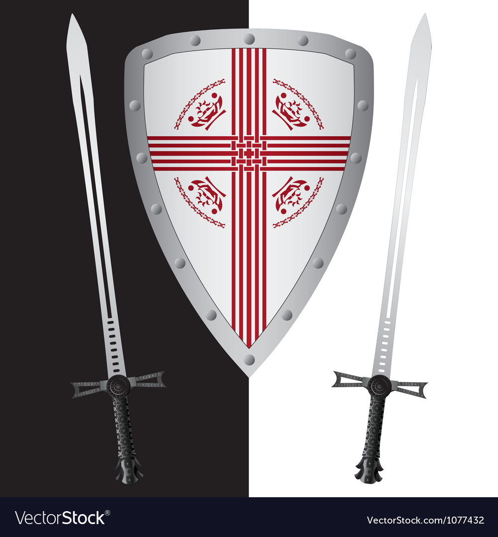 Fantasy shield and swordsfirst variant vector | Price: 1 Credit (USD $1)