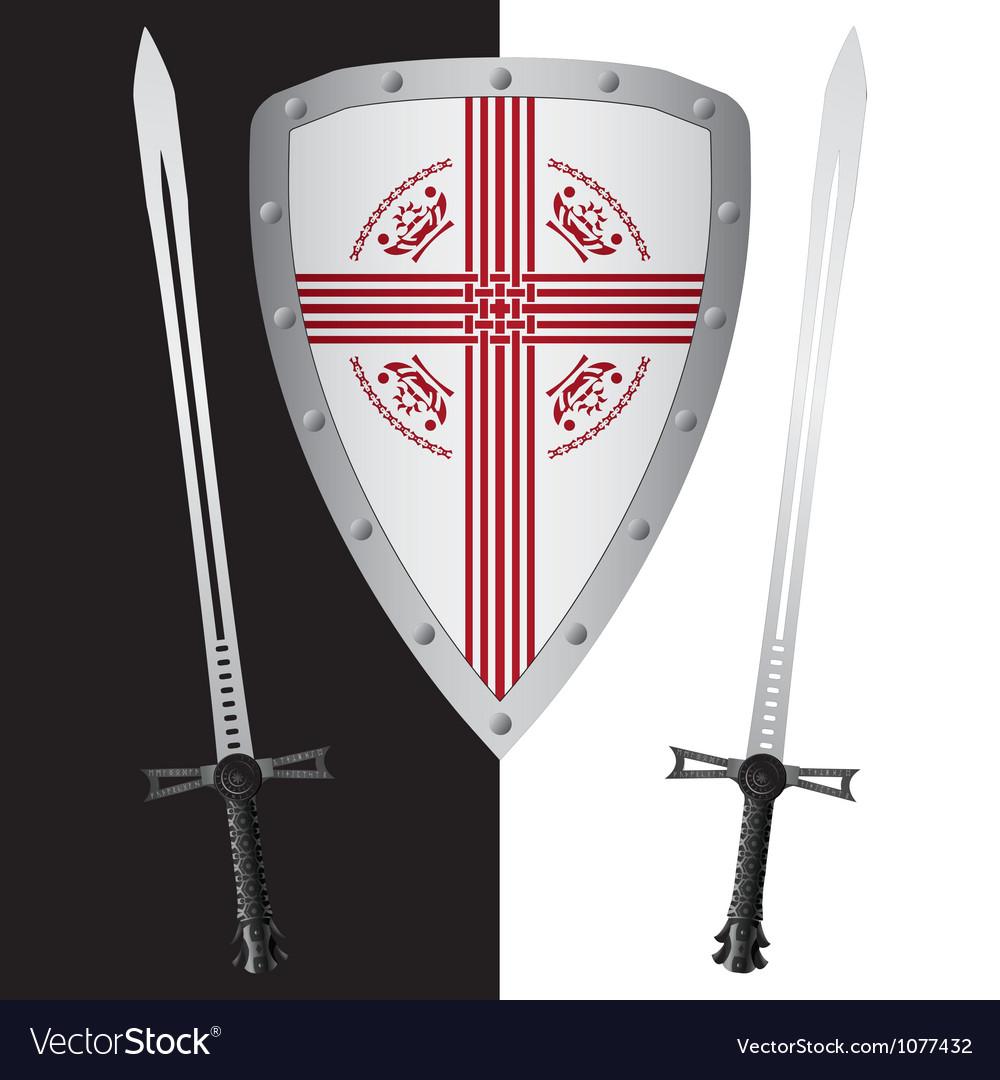 Fantasy shield and swordsfirst variant vector | Price: 1 Credit (USD $1)