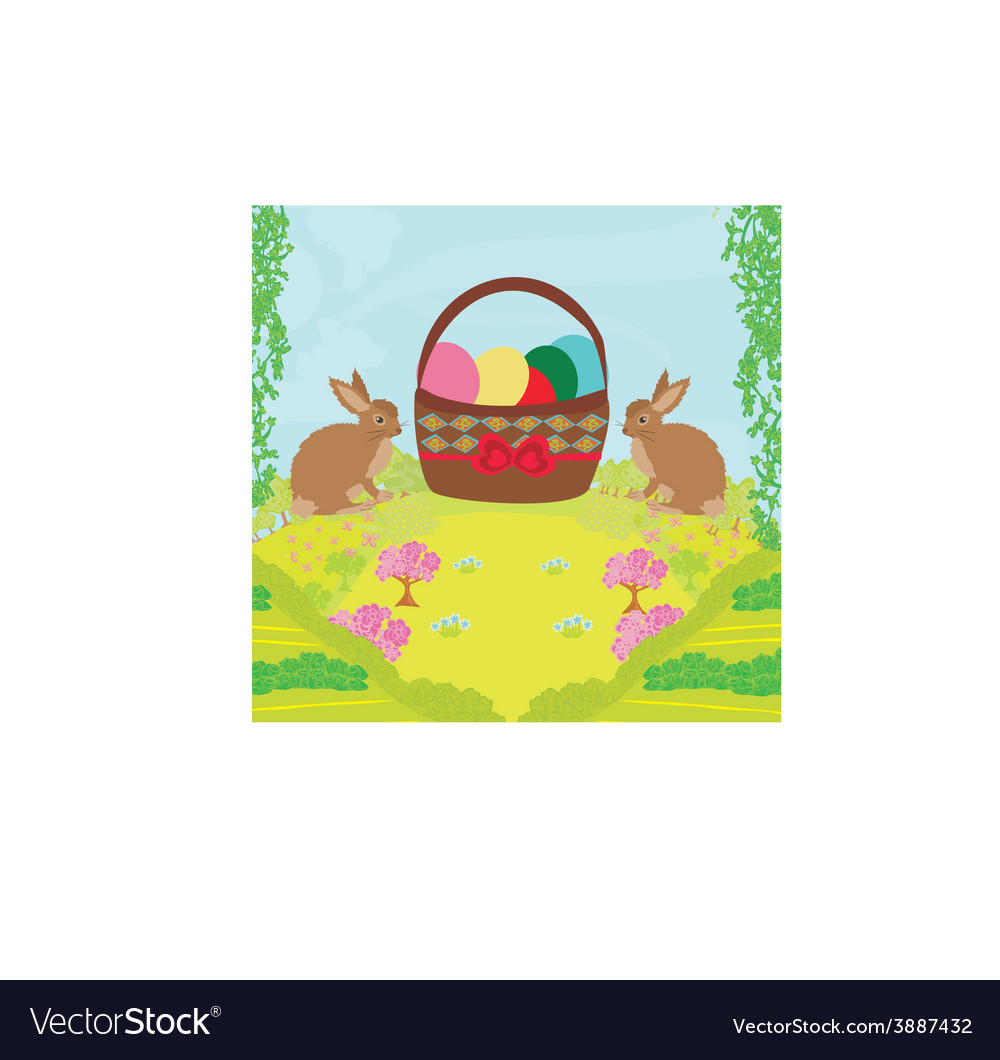 Greeting card with easter rabbits and basket with vector | Price: 1 Credit (USD $1)