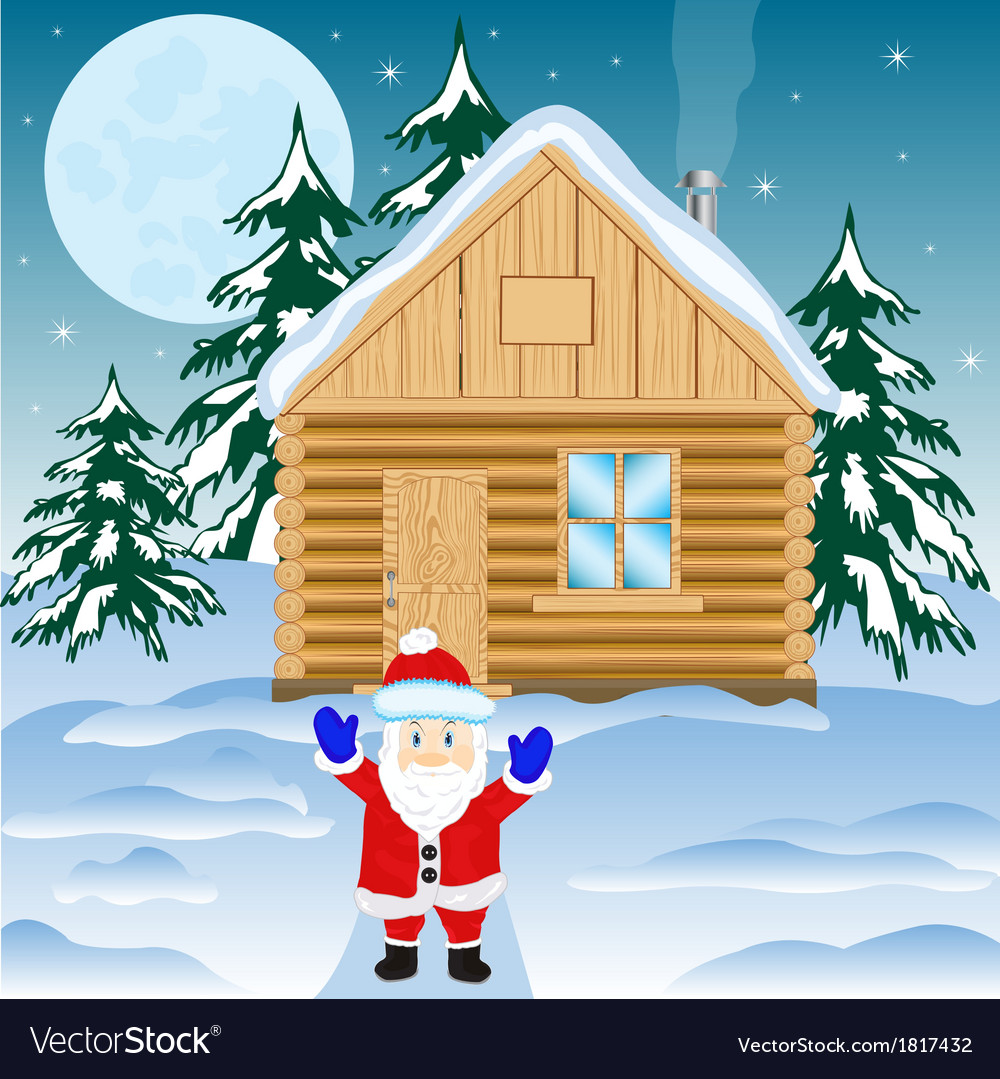 House in winter wood vector | Price: 1 Credit (USD $1)