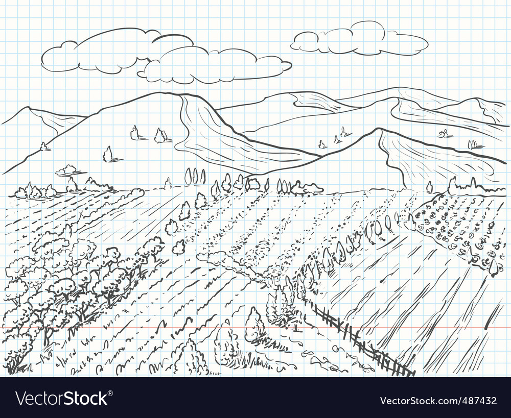 Landscape sketch vector | Price: 1 Credit (USD $1)