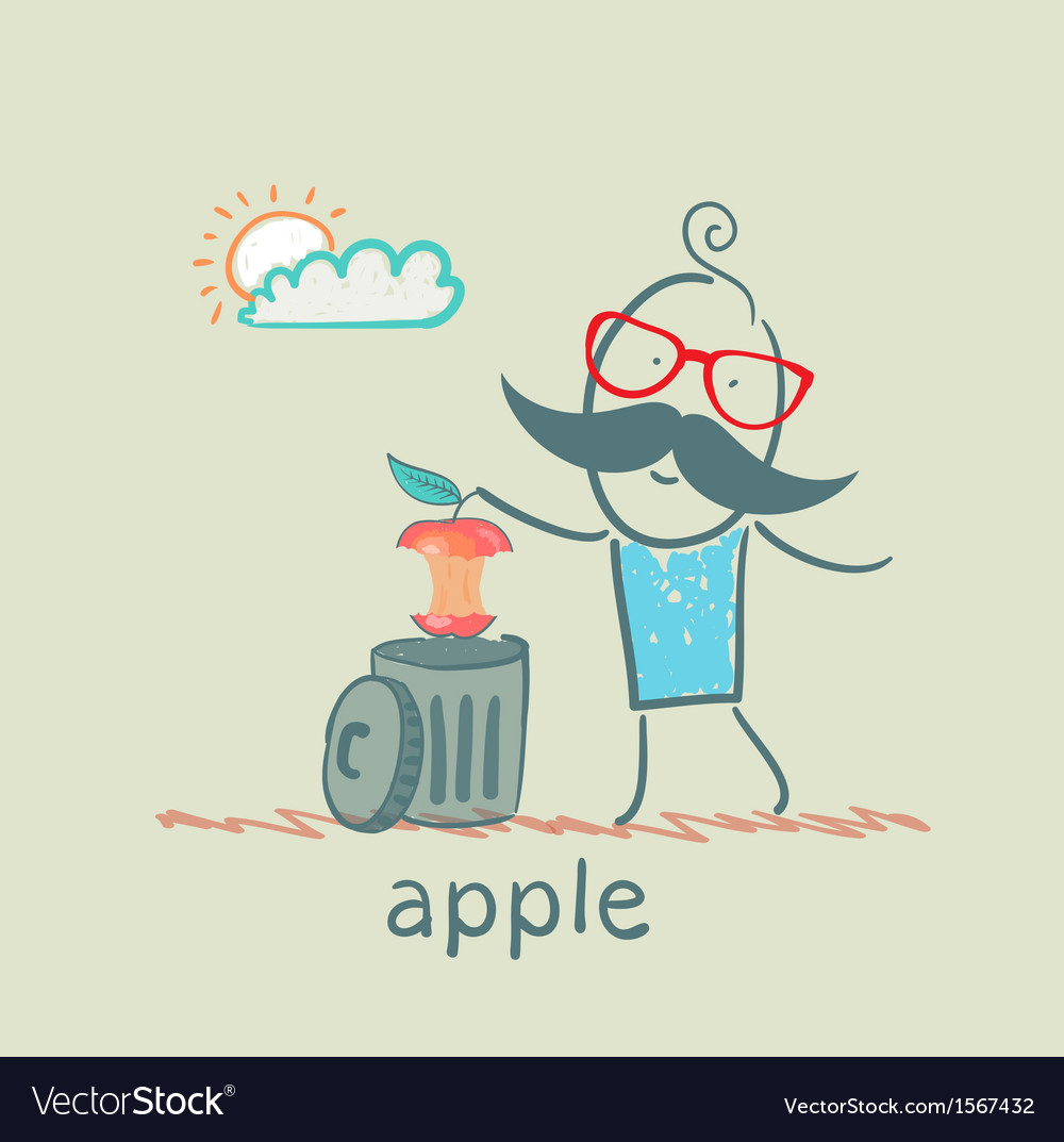 Man throws an apple to eat in the trash vector | Price: 1 Credit (USD $1)