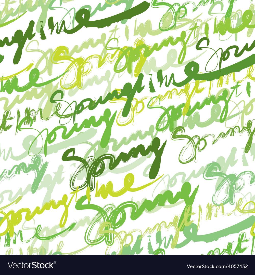 Seamless inscriptions springtime vector | Price: 1 Credit (USD $1)