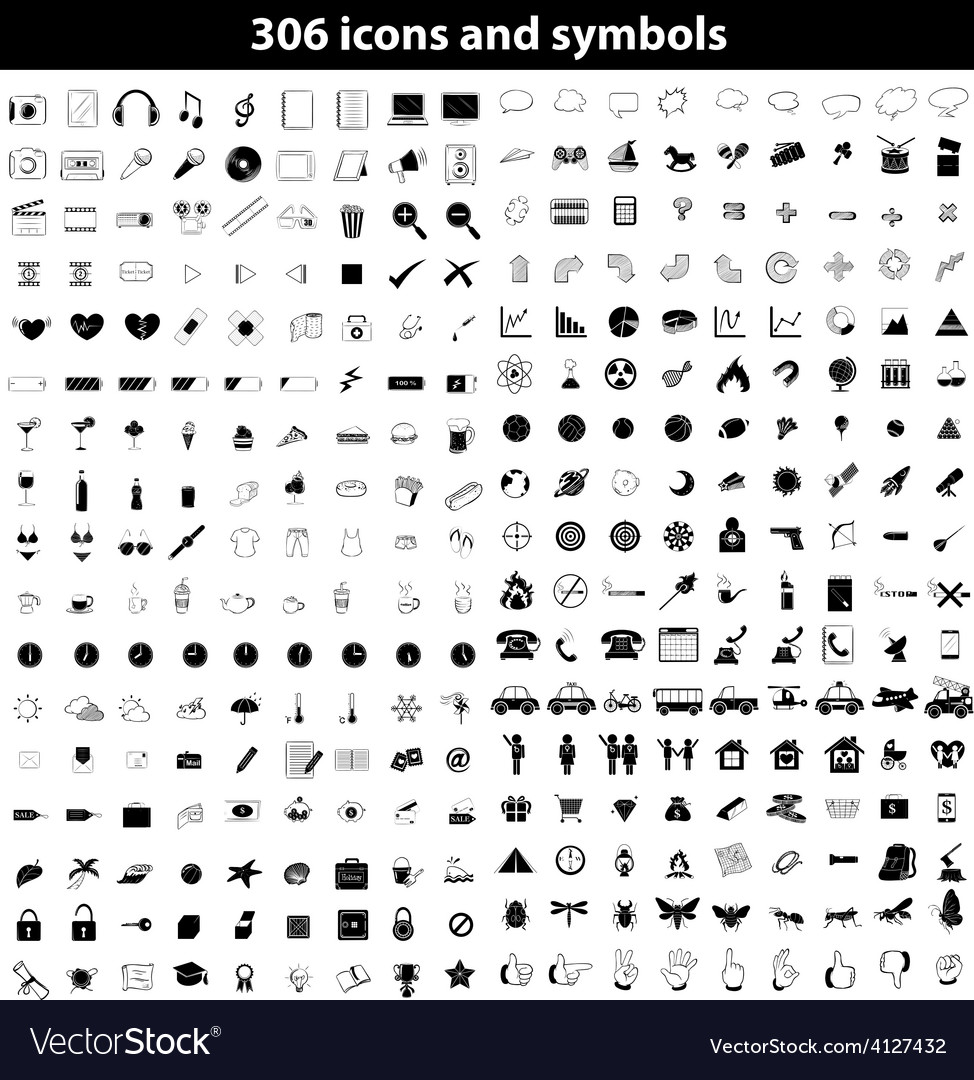 Set of icons and symbols vector | Price: 1 Credit (USD $1)