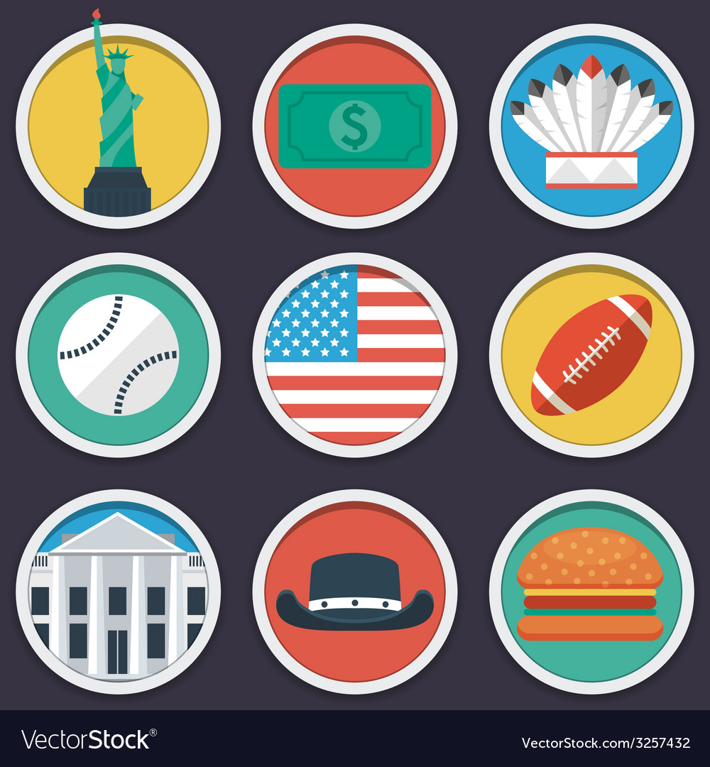 Usa flat circle icon set vector | Price: 1 Credit (USD $1)