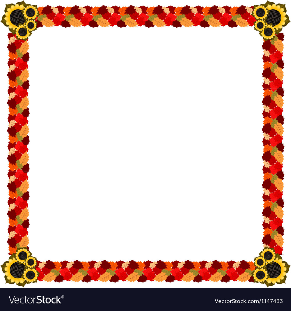 Abstract frame of autumn leaves and flowers vector | Price: 1 Credit (USD $1)