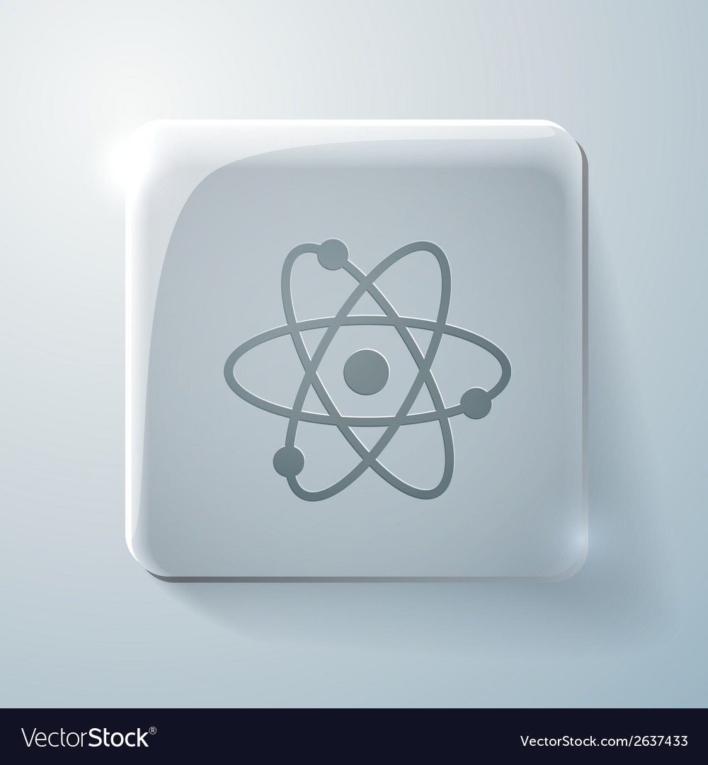 Atom molecule glass square icon vector | Price: 1 Credit (USD $1)