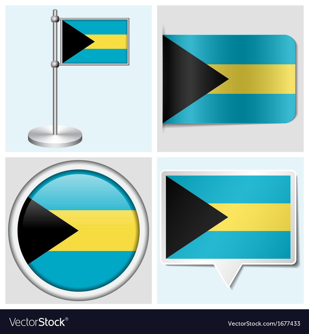 Bahamas flag - sticker button label flagstaff vector | Price: 1 Credit (USD $1)