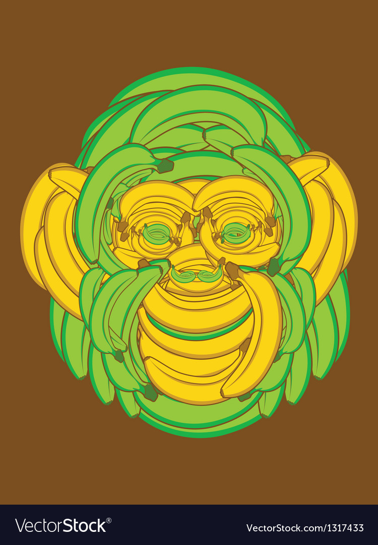 Banana monkey vector | Price: 1 Credit (USD $1)