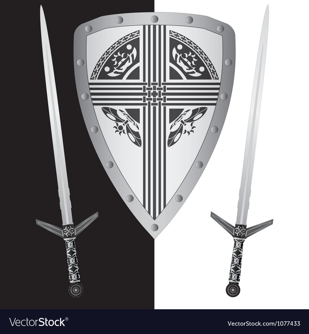 Fantasy shield and swordsfourth variant vector | Price: 1 Credit (USD $1)