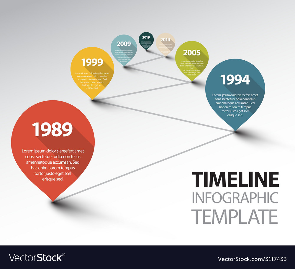 Infographic timeline template with pointers on a vector | Price: 1 Credit (USD $1)