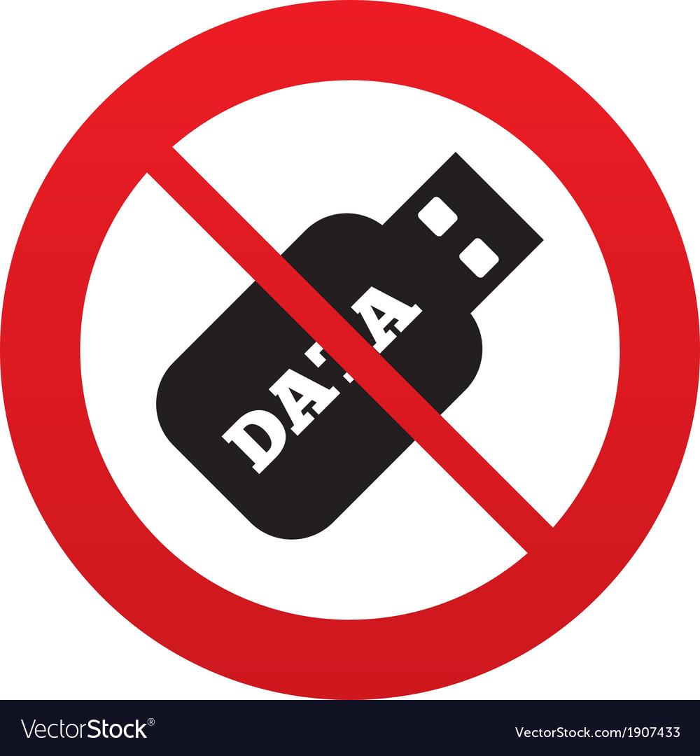 No usb stick sign icon usb flash drive button vector | Price: 1 Credit (USD $1)