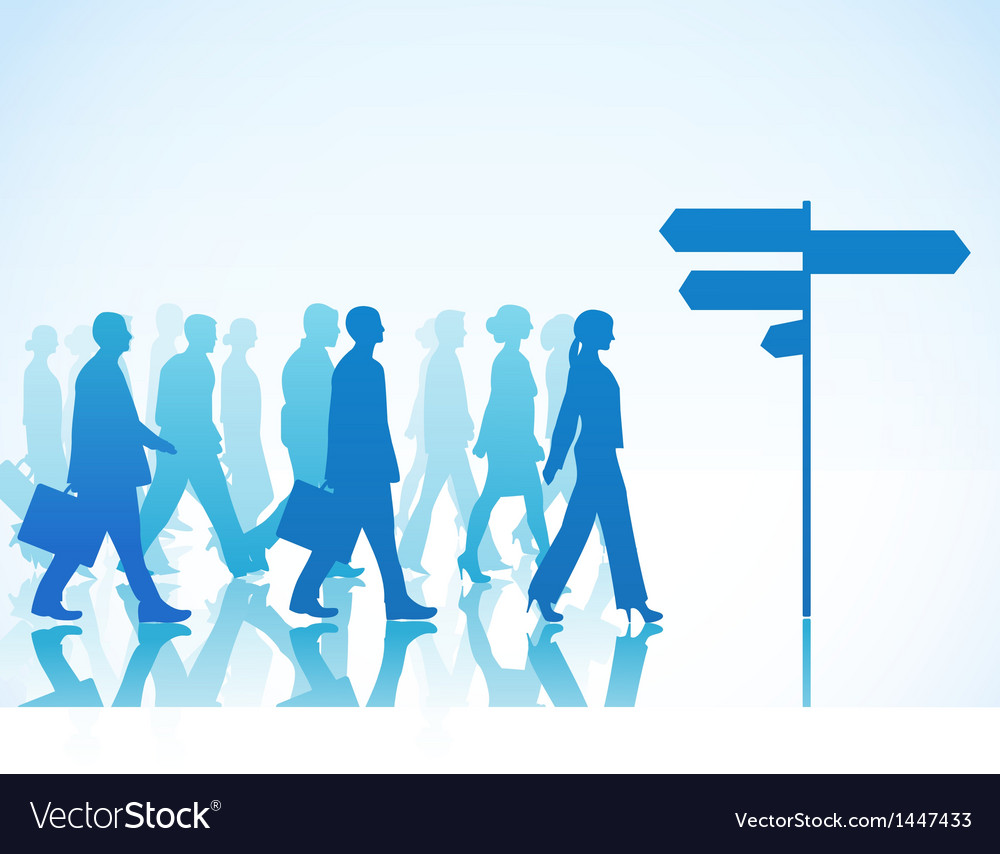 People are walking to direction sign vector | Price: 1 Credit (USD $1)