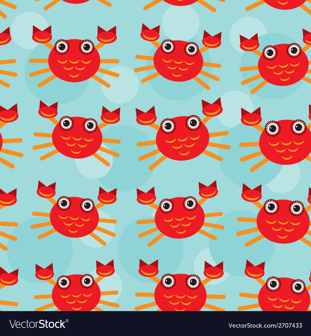 Red crayfish seamless pattern with funny cute vector | Price: 1 Credit (USD $1)