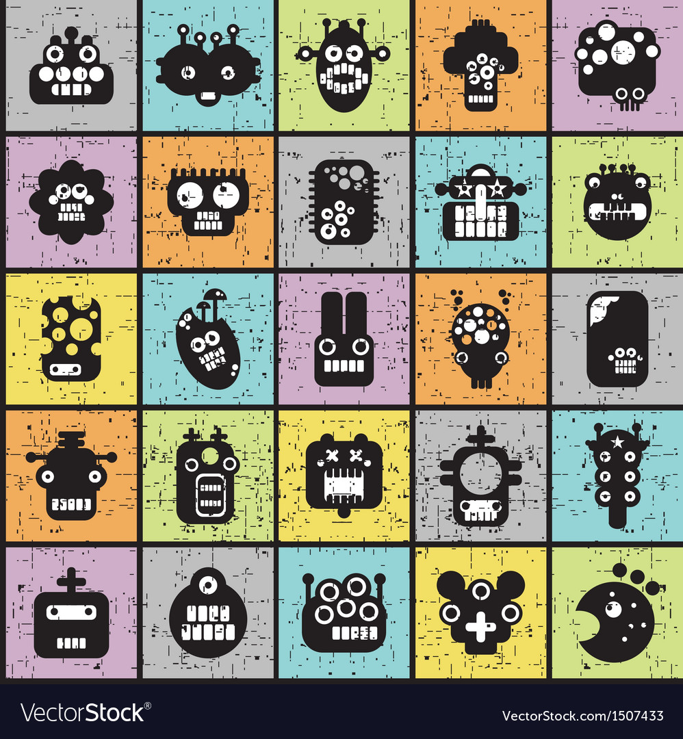 Robot and monsters cell seamless pattern vector | Price: 3 Credit (USD $3)