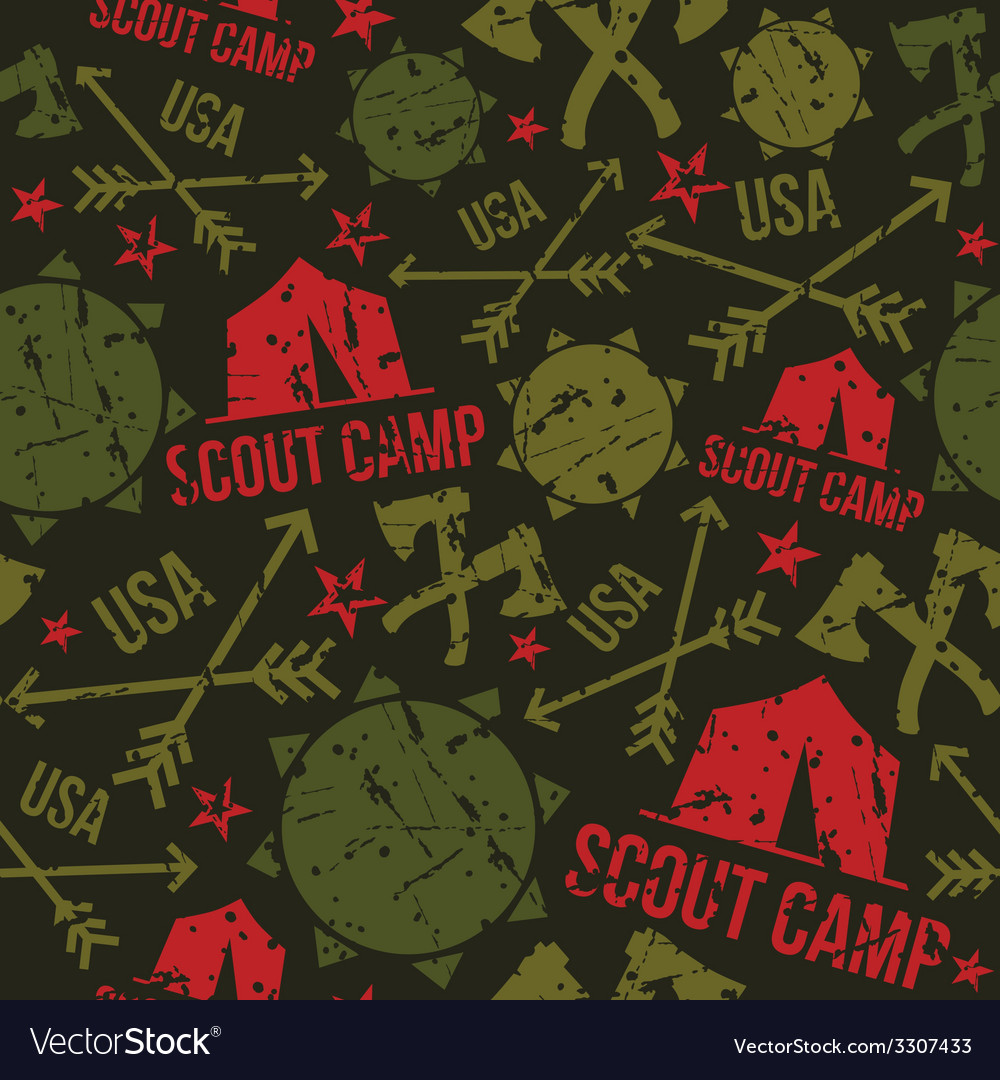 Scout camp seamless pattern vector | Price: 1 Credit (USD $1)