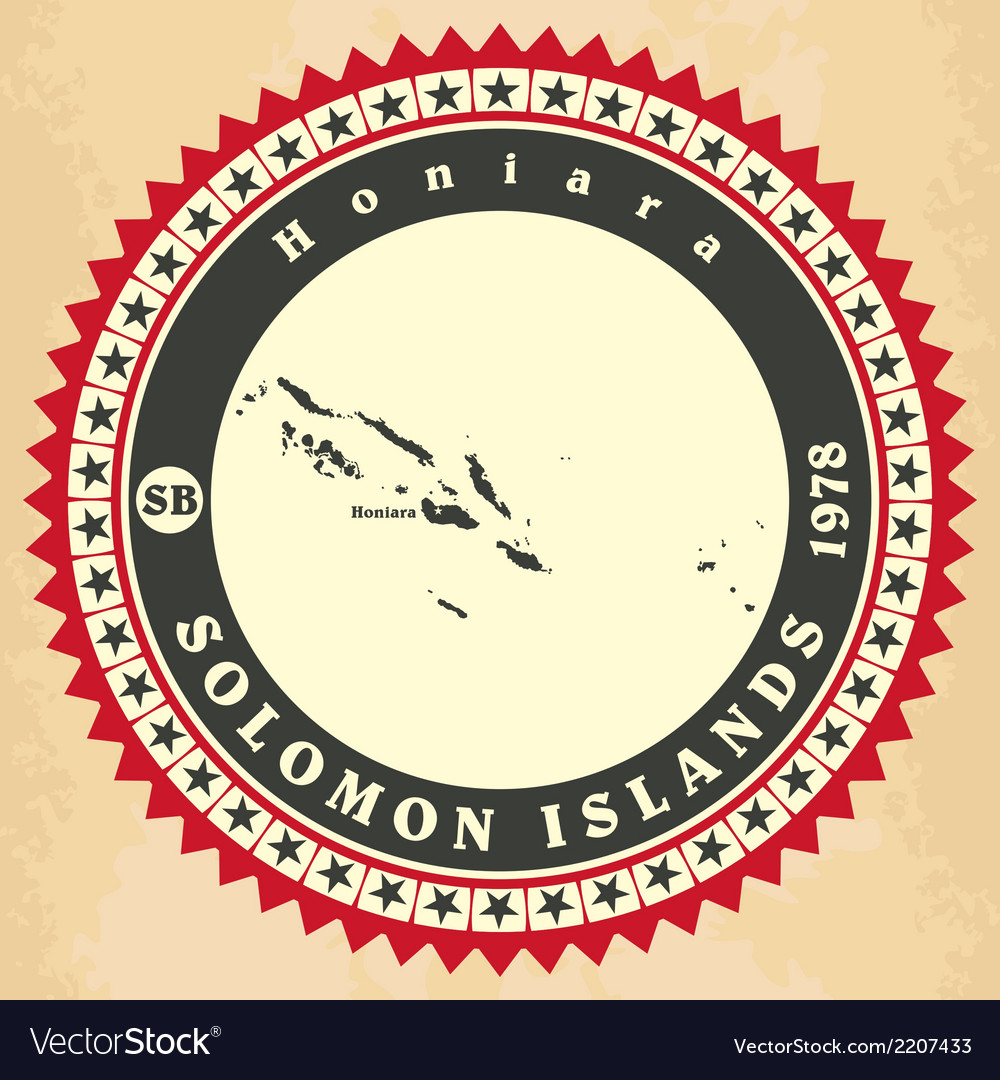 Vintage label-sticker cards of solomon islands vector | Price: 1 Credit (USD $1)