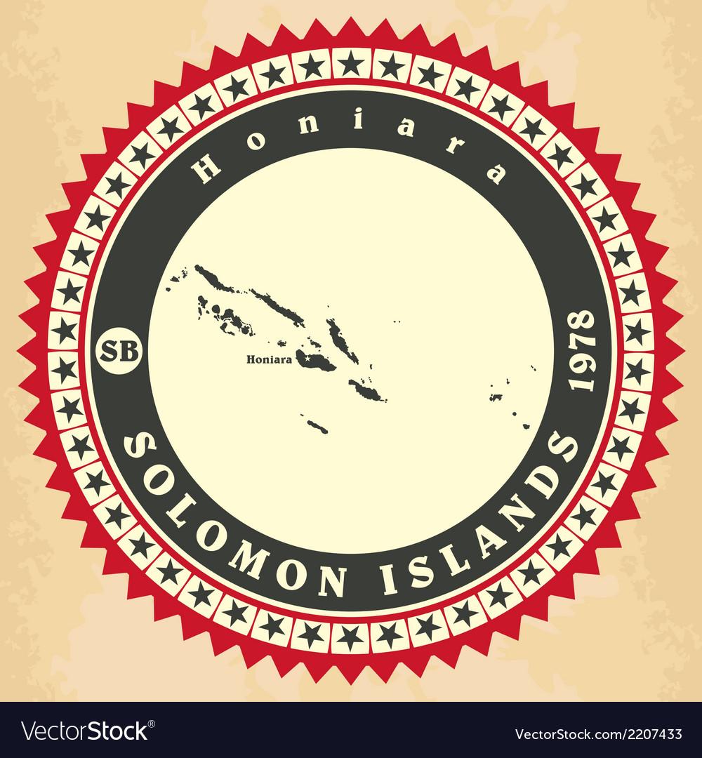 Vintage label-sticker cards of solomon islands vector | Price: 1 Credit (USD $1)