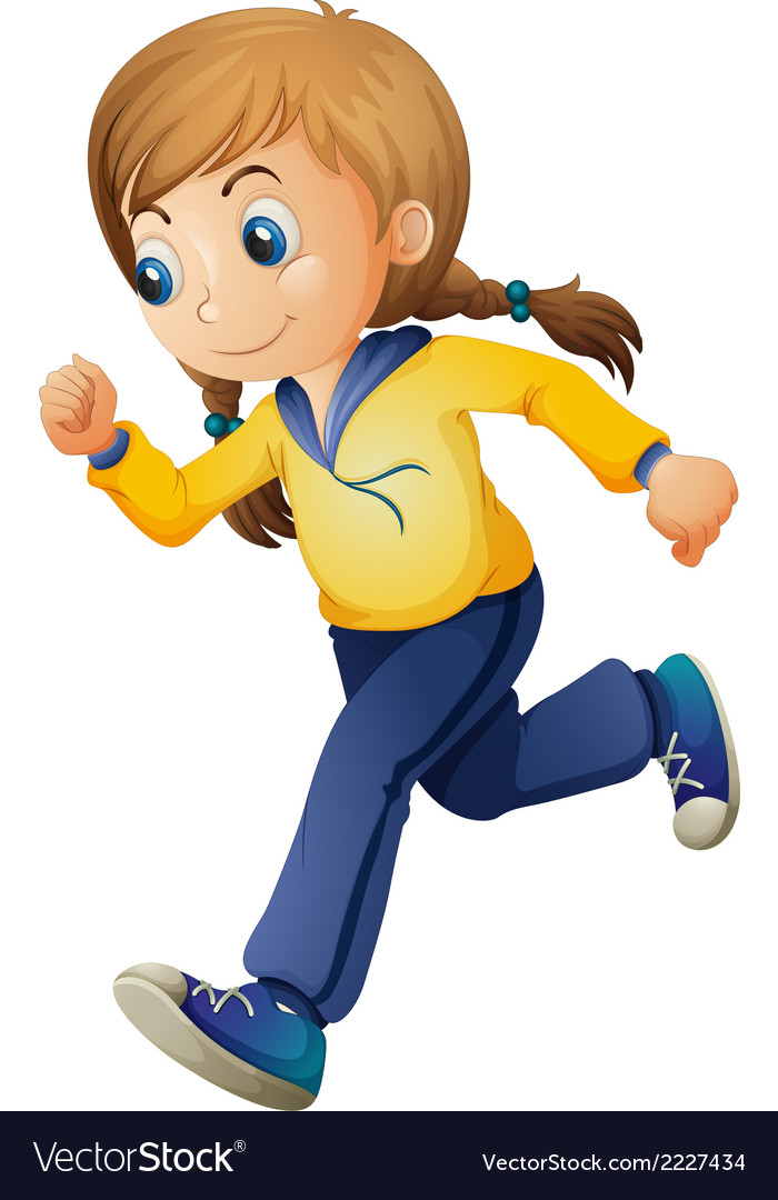 A cute girl jogging vector | Price: 1 Credit (USD $1)