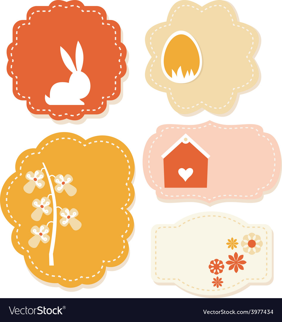 Beautiful easter colorful tags isolated on white vector | Price: 1 Credit (USD $1)