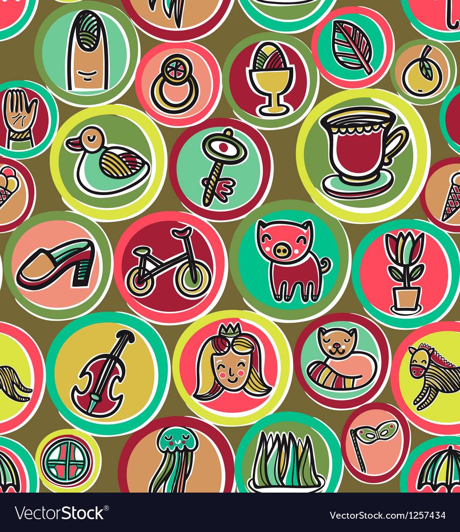 Cute colorful cartoon pattern vector | Price: 1 Credit (USD $1)