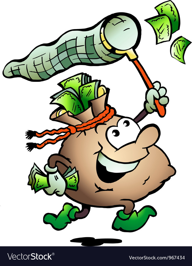 Hand-drawn of an money sack hunting cash vector | Price: 1 Credit (USD $1)