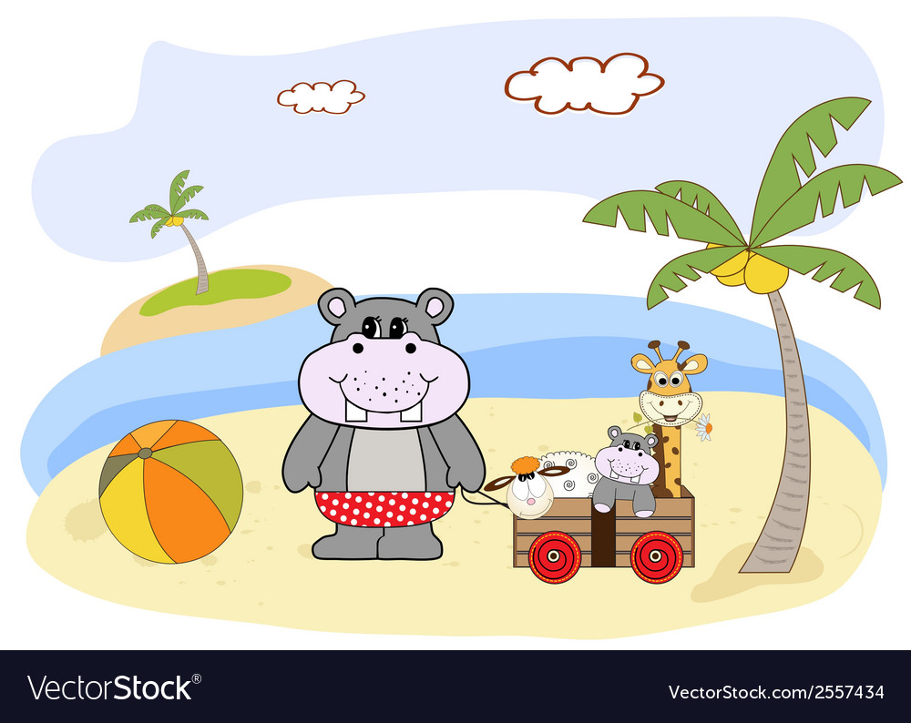 Hippo play on the beach vector | Price: 1 Credit (USD $1)
