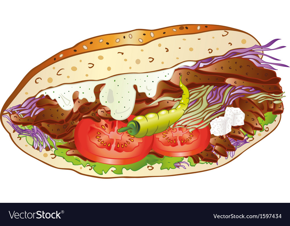 Kebab bread salad vector | Price: 1 Credit (USD $1)