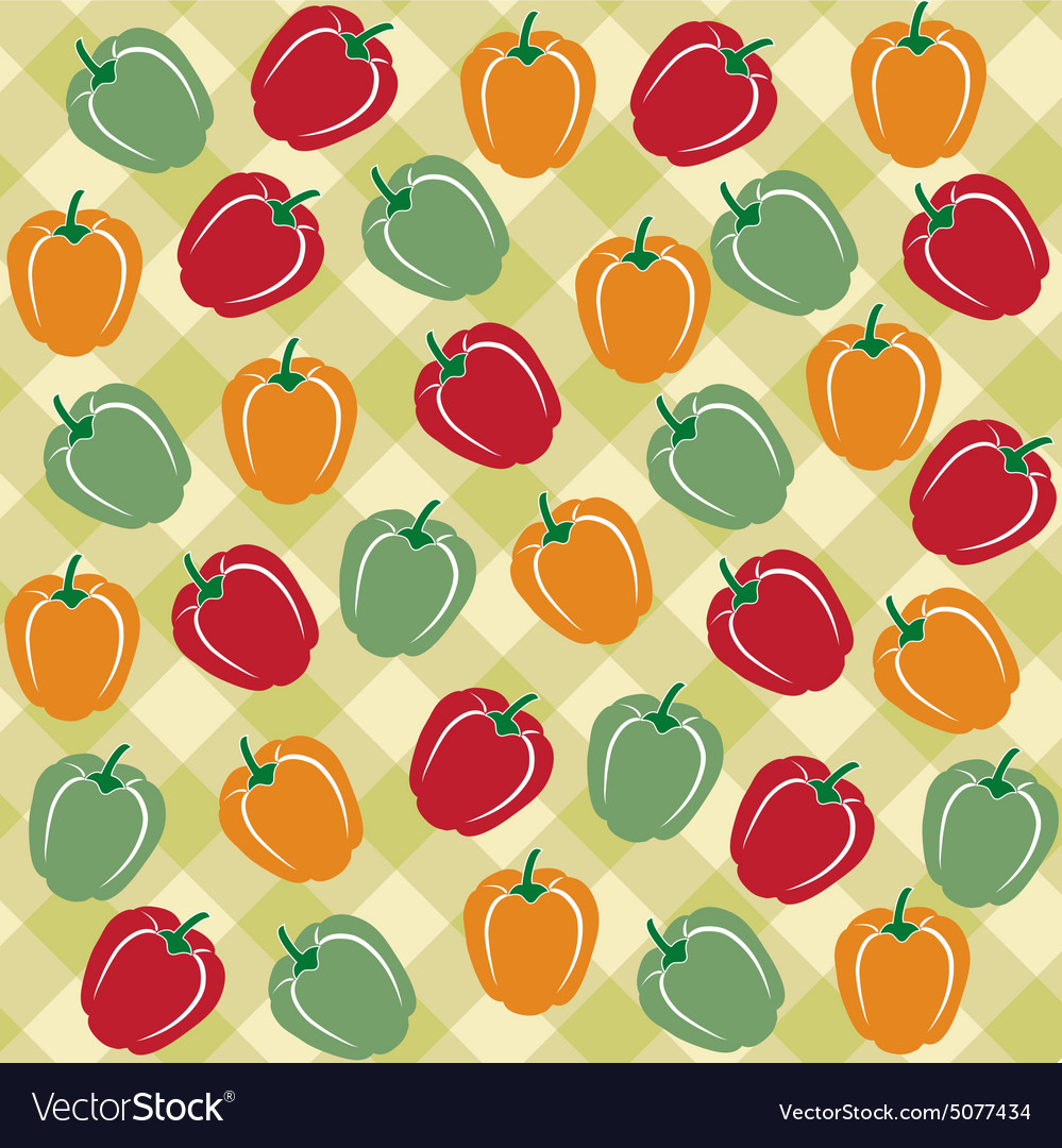 Seamless pattern of sweet peppers of different vector