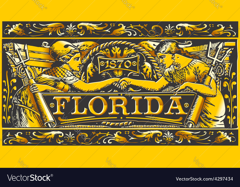 Vintage florida label plaque black and gold vector | Price: 3 Credit (USD $3)