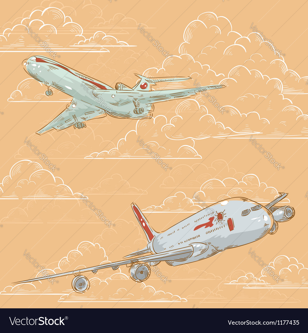Airplanes on cloudy background card vector | Price: 1 Credit (USD $1)