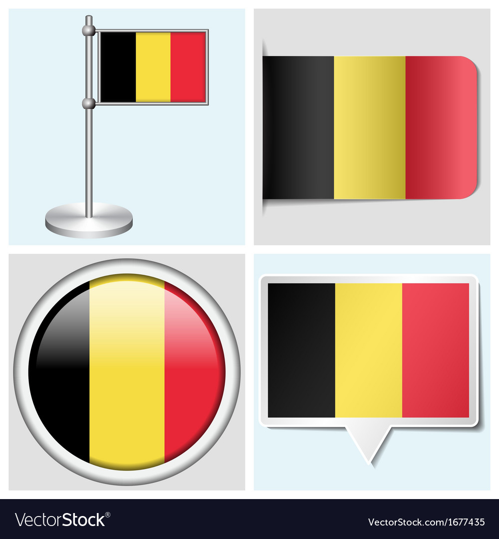 Belgium flag - sticker button label flagstaff vector | Price: 1 Credit (USD $1)