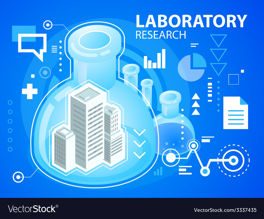 Bright laboratory research of buildings on b vector | Price: 3 Credit (USD $3)
